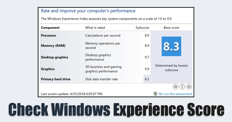 How To Know Windows Experience Score On Your Windows 10 Usa